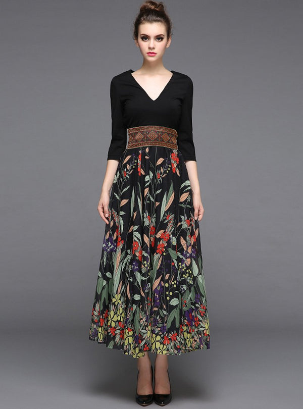 Black Floral Printed V-Neck Maxi Dress
