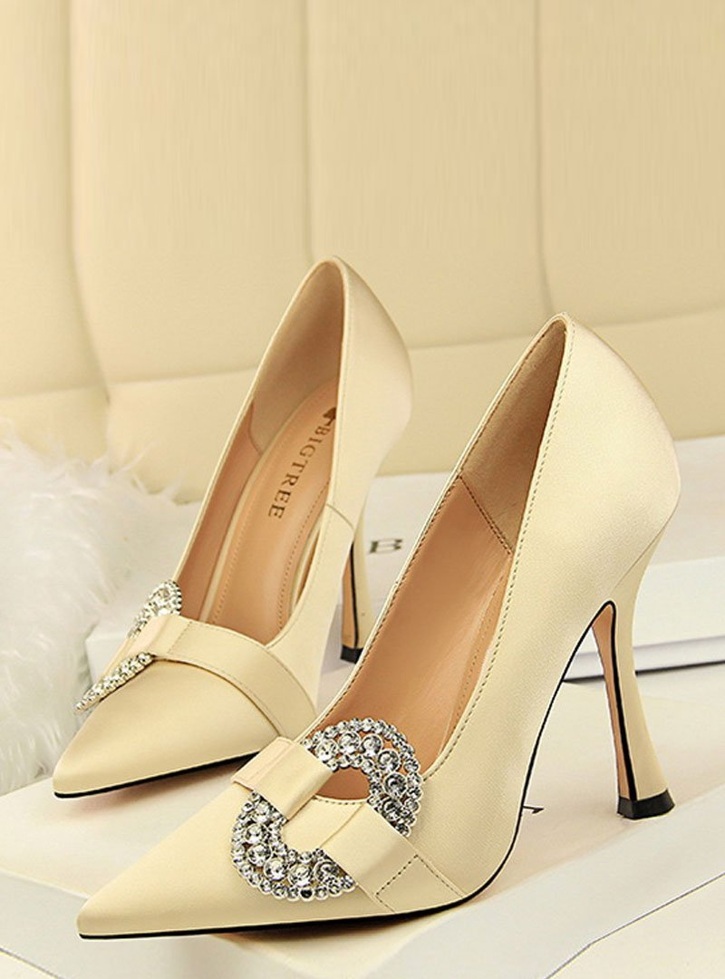 Front Rhinestone Slip On High Stiletto Heels