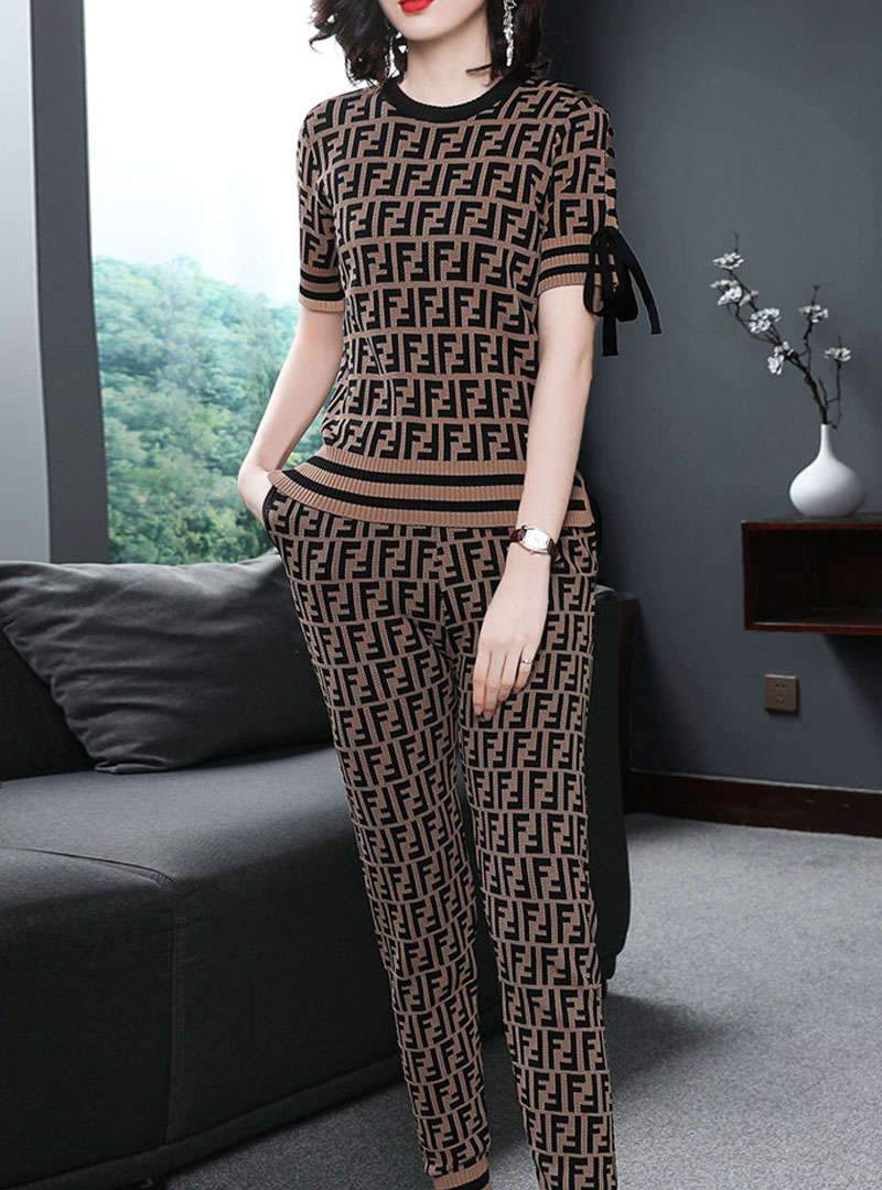 Brown Knitted Shirt & Pants Two Piece Suit