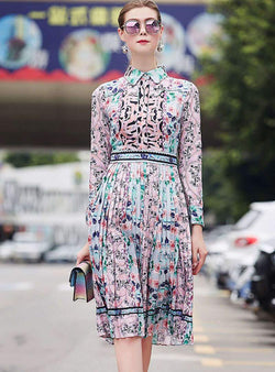 Multi-Color Floral Printed Pleated Midi Dress