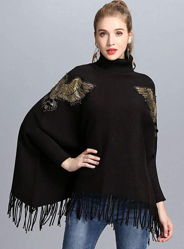 Batwing Sleeve Embroidered Tassels Knitted Sweater