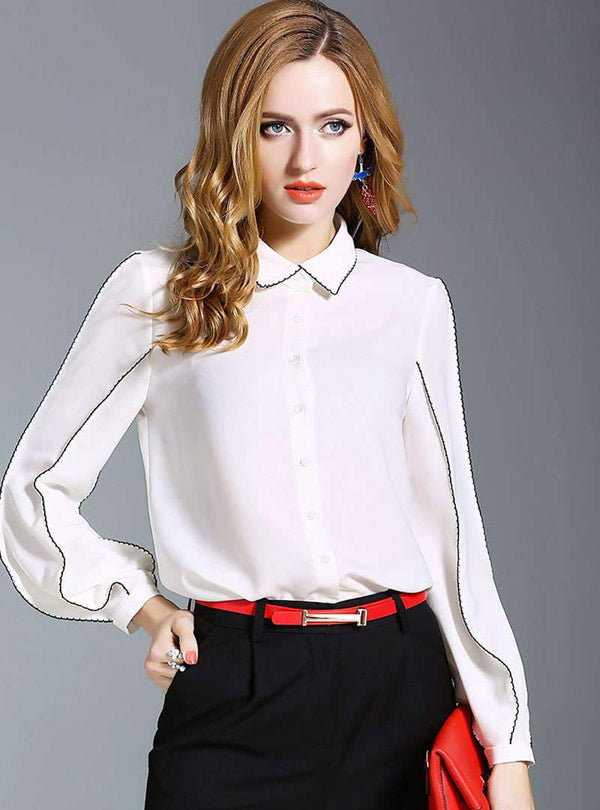 Solid Color Lantern Sleeves Chiffon Blouse