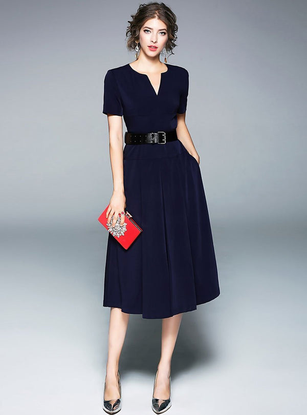 Navy Blue Asymmetric Neck Belted Midi Dress