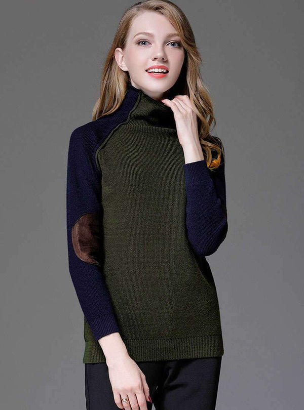 Green High Neck Spliced Knitted Sweater