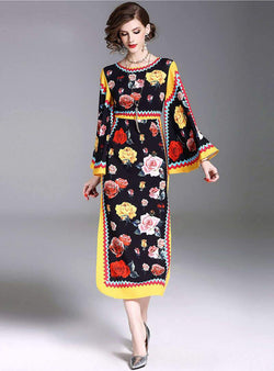 Floral Printed Flare Sleeve Vintage Maxi Dress