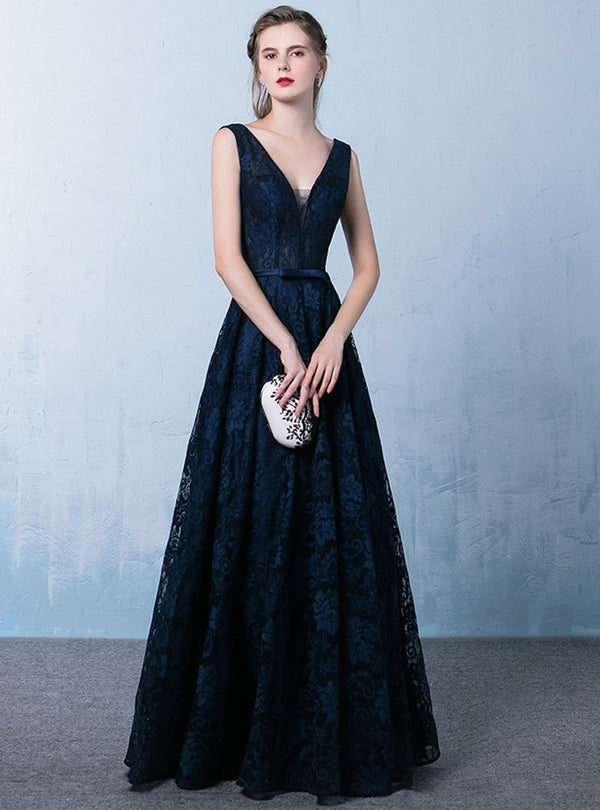 Dark Blue V-Neck Sleeveless Evening Dress