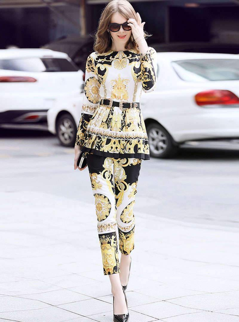 Gold Retro Floral Printed Tie Waist Two-Piece Outfits