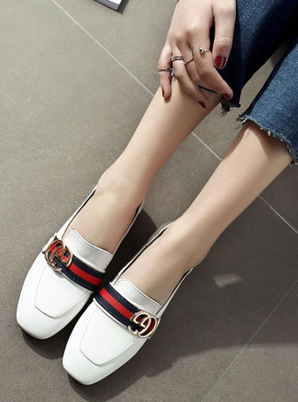 Front Metal Letter Slip On Casual Flats
