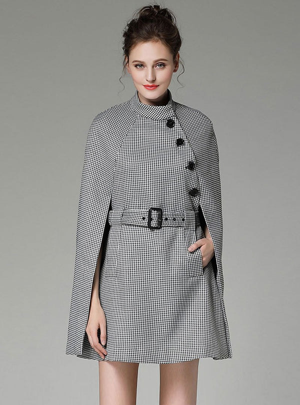 Black Plaid Belt Waist Cape Style Coat