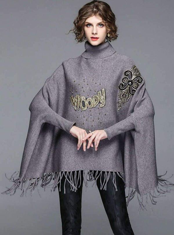 Grey Fringe Bat-Wing Sleeve Loose Knitted Sweater