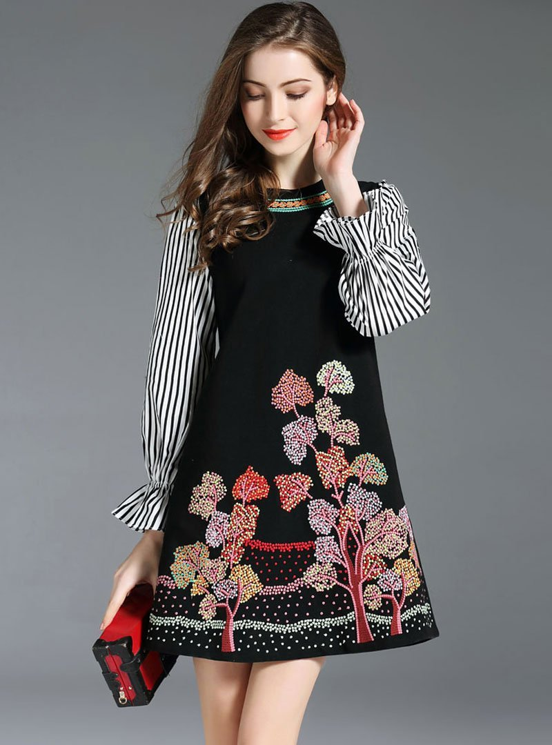 Match Color Embroidery Striped Spliced Mini Dress