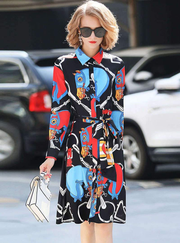 Black Horse Printed Tie Waist Shirt Dress