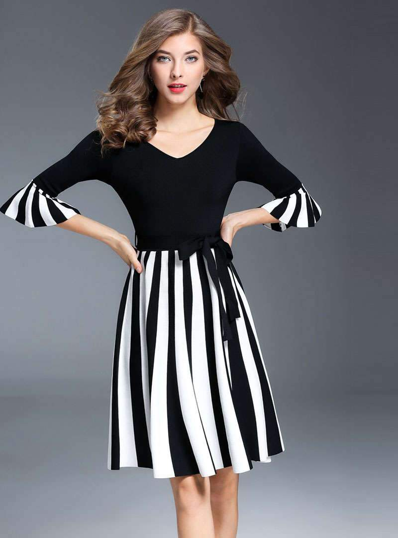 Striped Flare Sleeve Belted Mini Dress