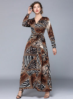 Trendy Long Sleeve Leopard Splicing Maxi Dress