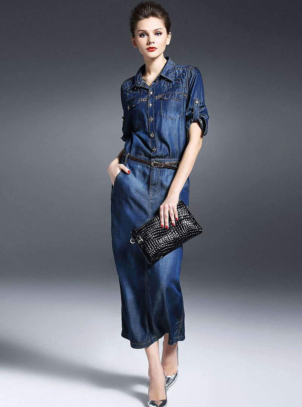 Denim Rivet Belted Waist Shirt Dress
