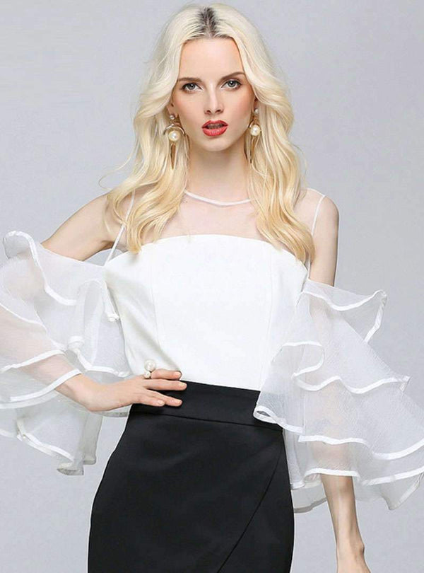 Mesh Flare Sleeve Blouse With See Through Detail