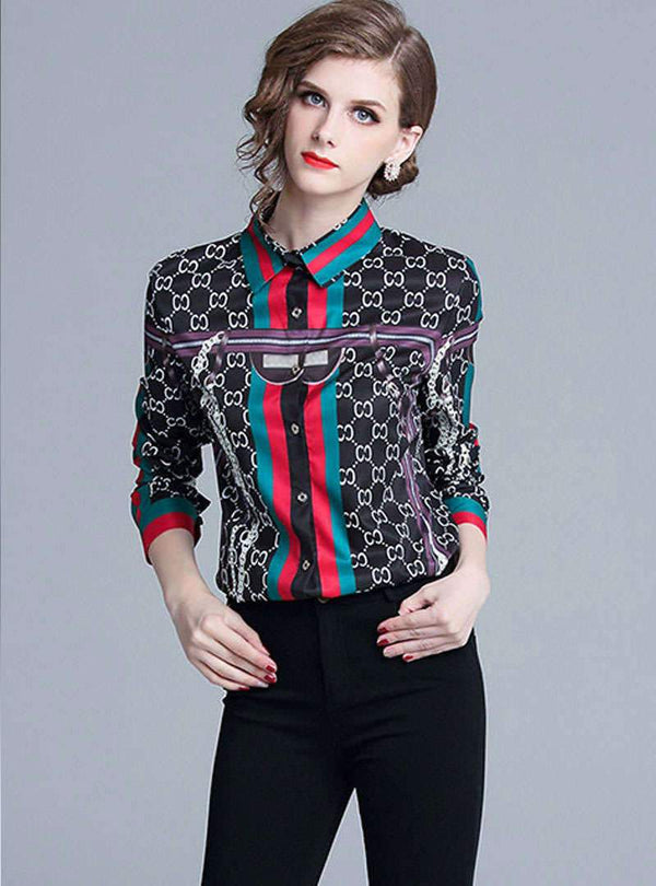 Black Retro Floral Printed Cotton Blouse