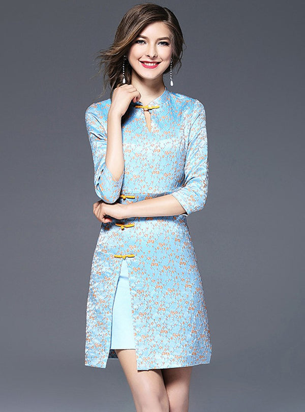 Blue Floral Printed Stand Collar Mini Dress