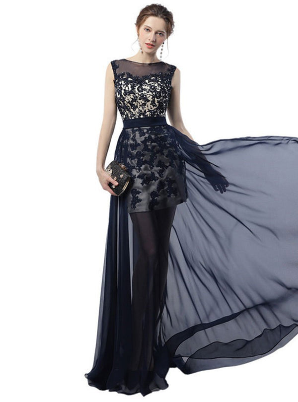 Black Embroidered Mesh Evening Dress