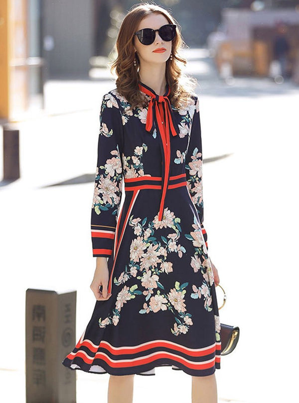 Blue Tie-Neck Long Sleeve A-Line Date Floral Dress