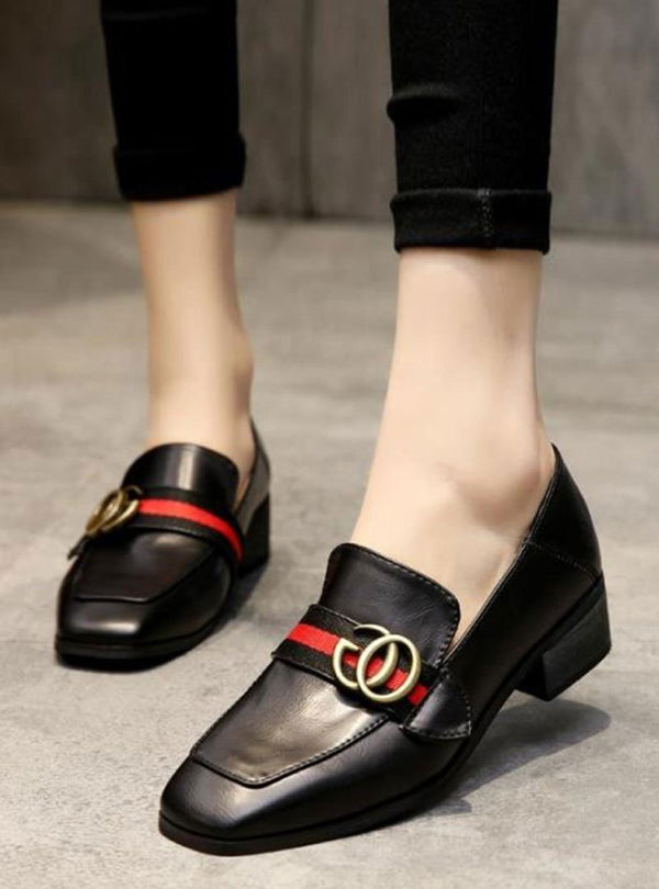 Black Chunky Heels Slip On Casual Flats