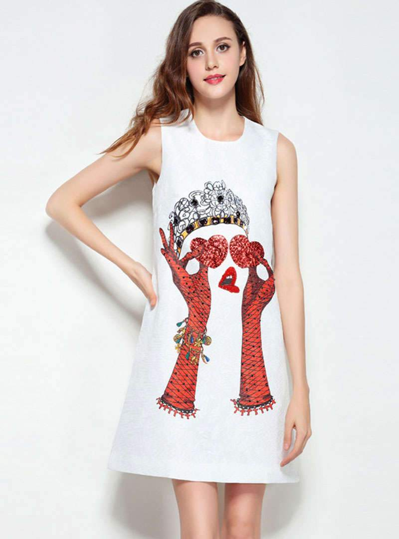White Nail Bead Sleeveless Mini Dress