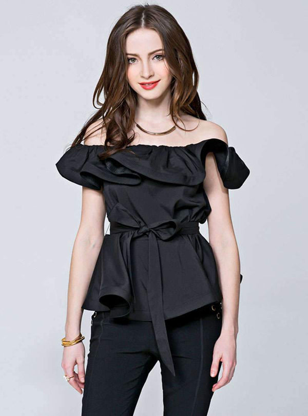 Pure Color Off The Shoulder T-Shirt With Tie Waist
