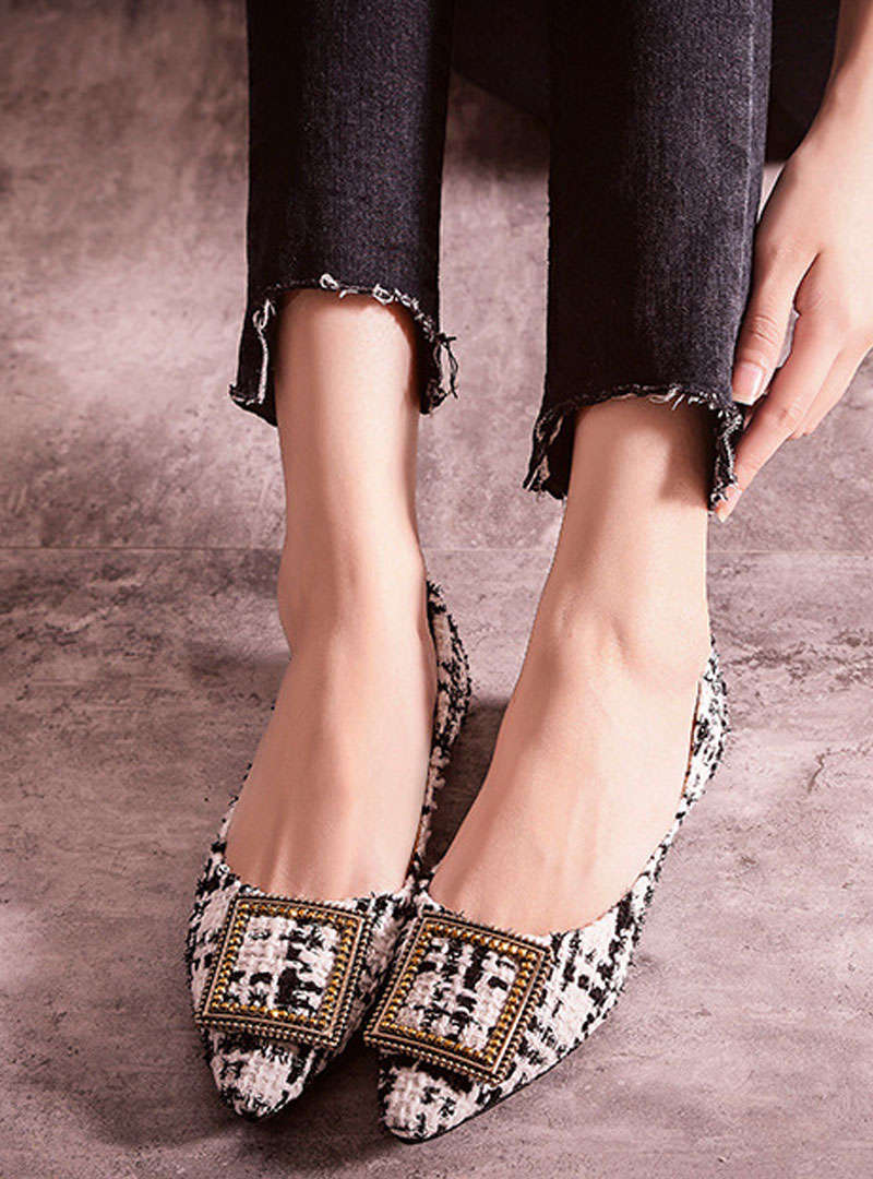 Pointed Toe Slip On Rhinestone Flats