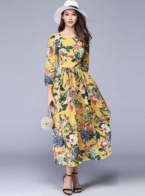Yellow Floral Printed Swing Hem Maxi Dress