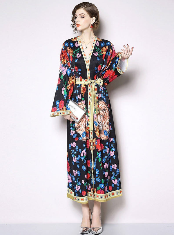 Retro V-Neck Flare Sleeve Waist Print Maxi Dress