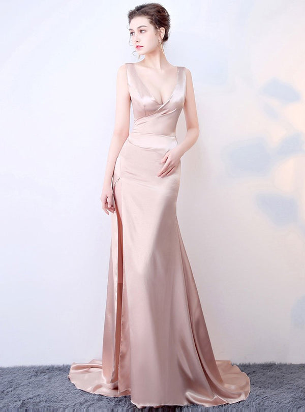 Champagne Deep V-Neck Evening Dress