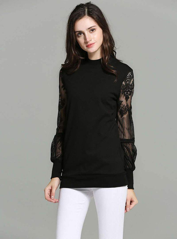 Black Perspective Loose Lace Spliced T-Shirt