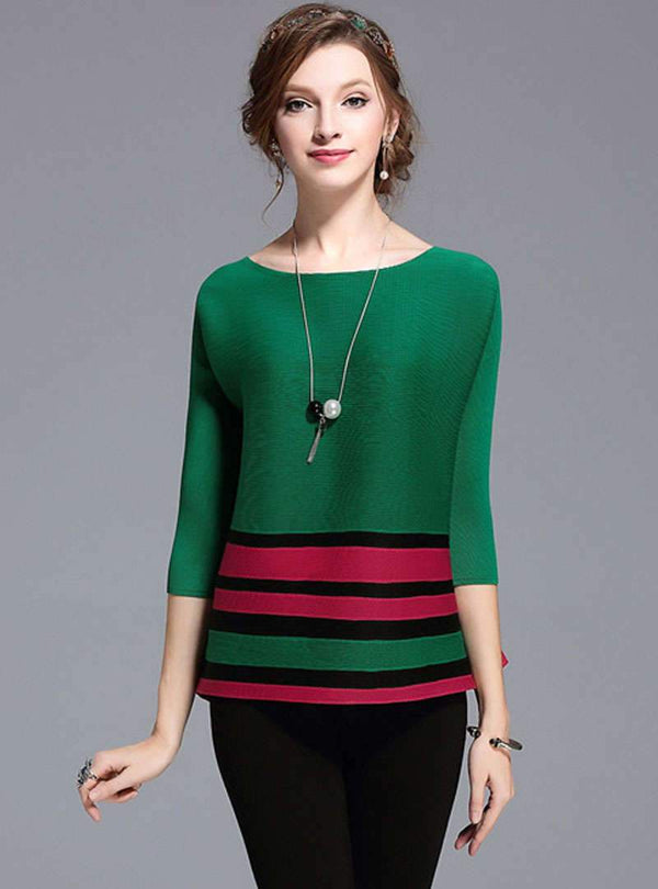 Match Color Striped Loose T-Shirt