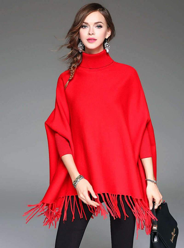 Solid Color High Neck Sweater With Tassels