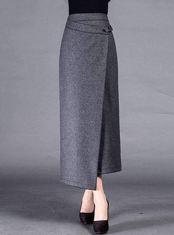 Grey Plain Bodycon Asymmetric Skirt