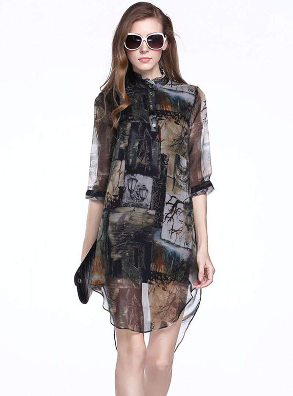 Multi Colo Scenery Printed Silk Mini Dress