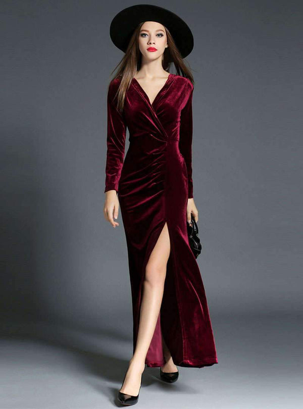 Solid Color Velvet Side Split Sheath Maxi Dress
