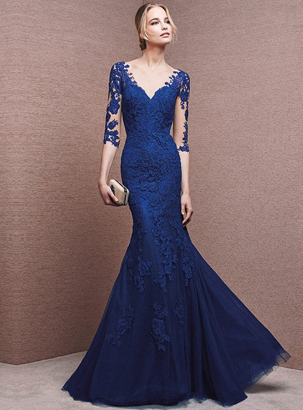 Elegant V-Neck Embroidered Fish Tail Evening Dress