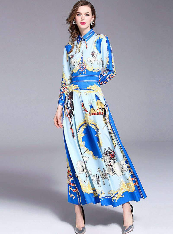 Blue Retro Floral Printed Satin Maxi Dress