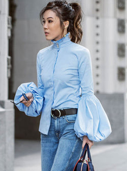 Blue Lantern Sleeve High Neck Cotton Blouse
