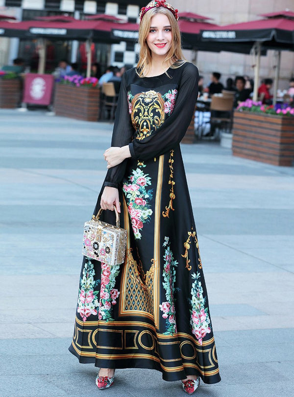 Black Floral Printed Long Sleeve Maxi Dress