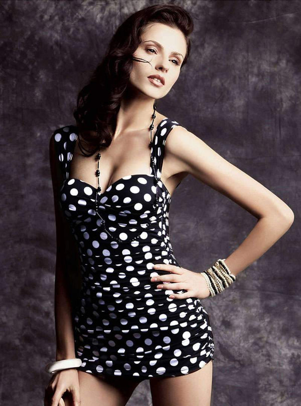 Black Polka Dot One Piece Swimwear