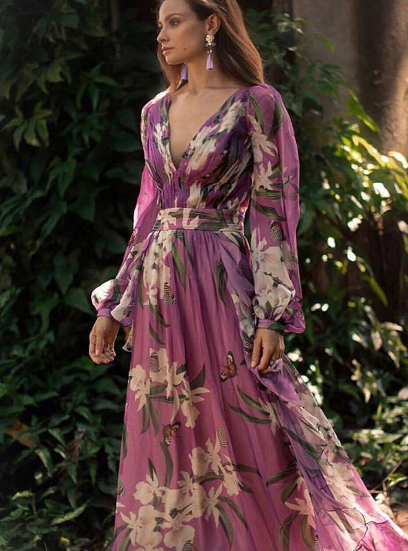 V-Neck Purple Floral Printed Paneled A-Line Daily Holiday Maxi Dress