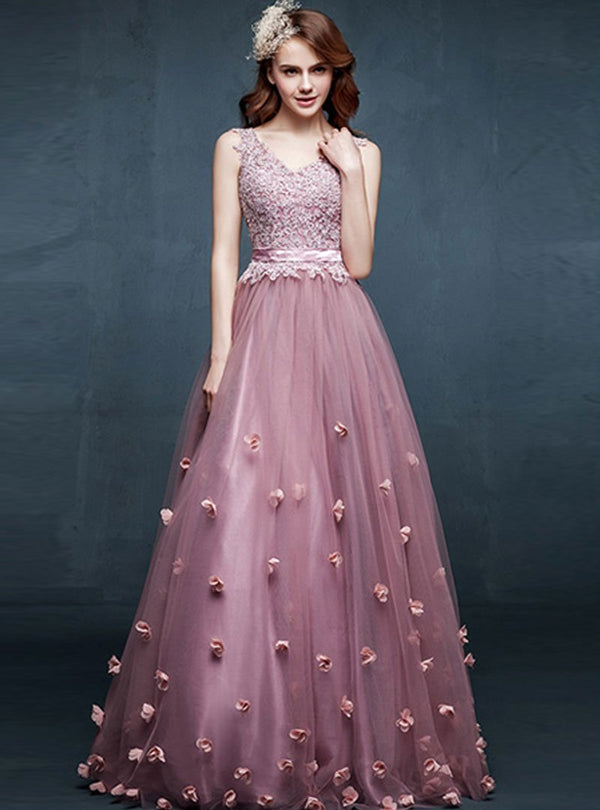 Sweet V-Neck Floral Evening Dress