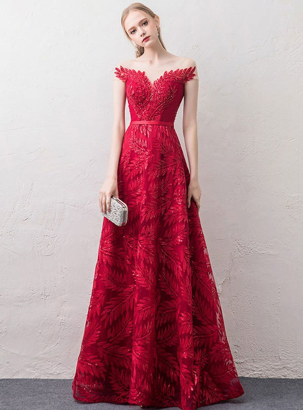 Fashion Red Embroidered Evening Dress