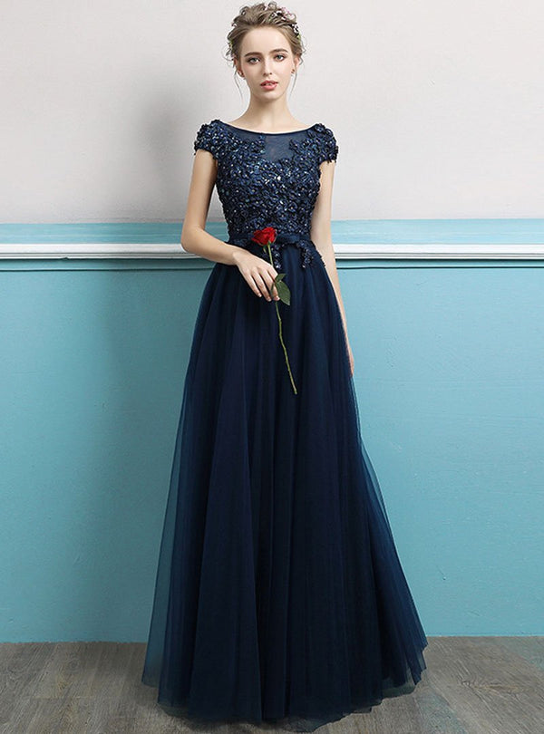 Dark Blue Embroidered Evening Dress