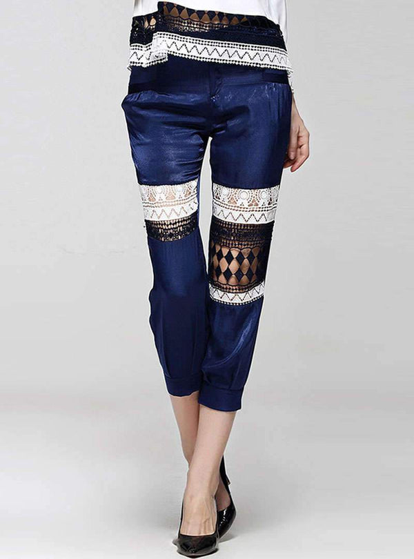 Matching Color Hollow Out Pants