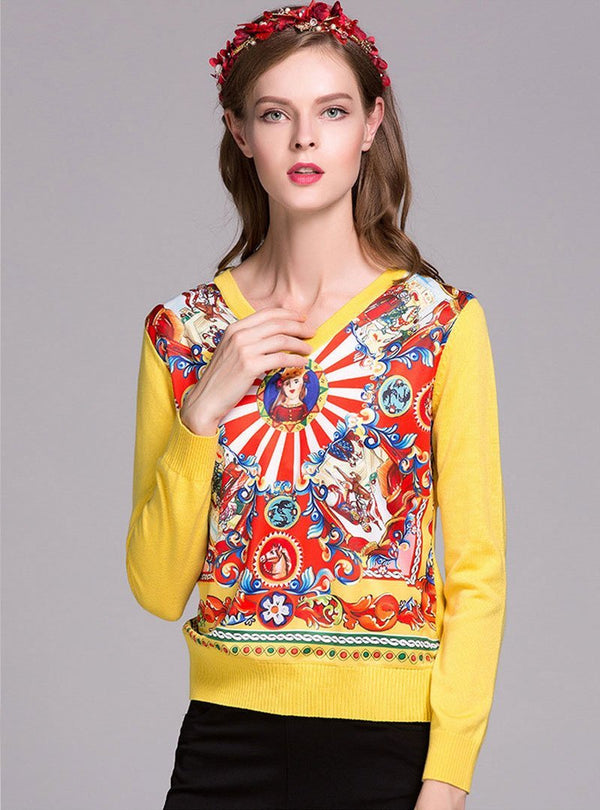 Floral Printed V-Neck Woolen Sweater