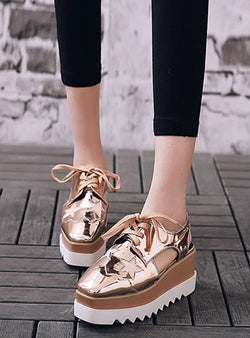 Patent Leather Platforms Lace Up Hollow Out Sandals
