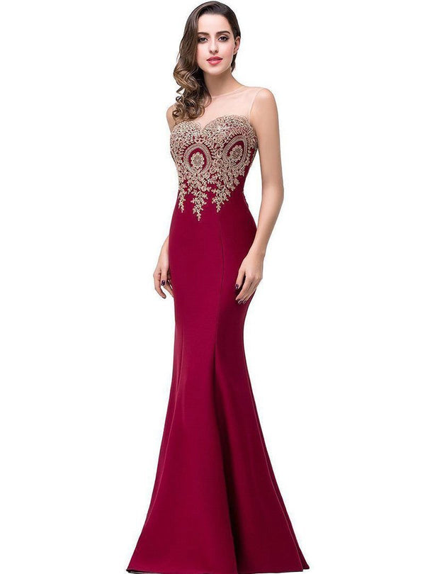 Solid Color Embroidered Fish Tail Evening Dress